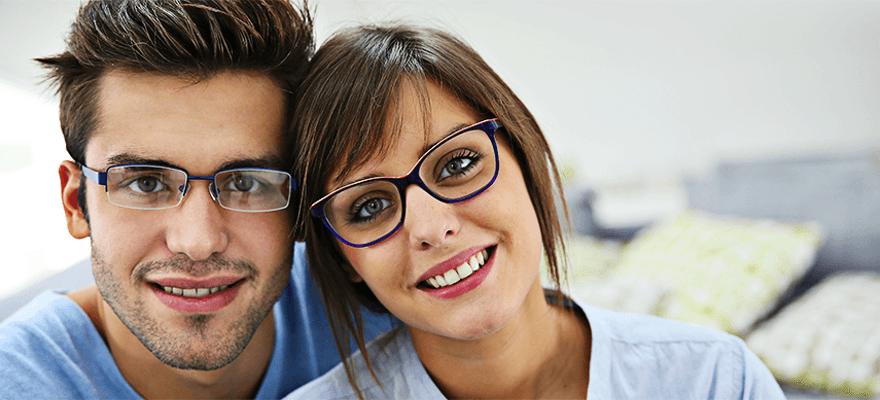 Couple with eyeglass