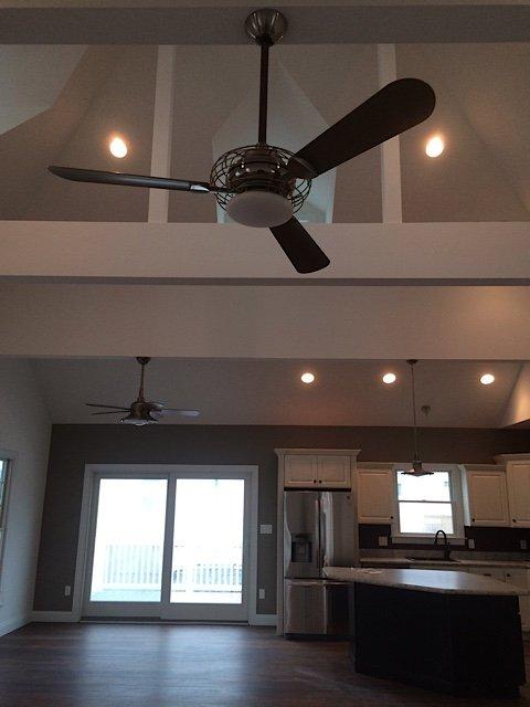 ceiling lights, fan