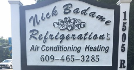 Nick Badame Refrigeration LLC's sign