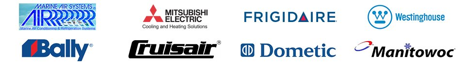 Marine Air Systems, Mitsubishi Electric, Frigidaire, Westinghouse, Bally, Cruisair, Dometic, Manitowoc - Logos