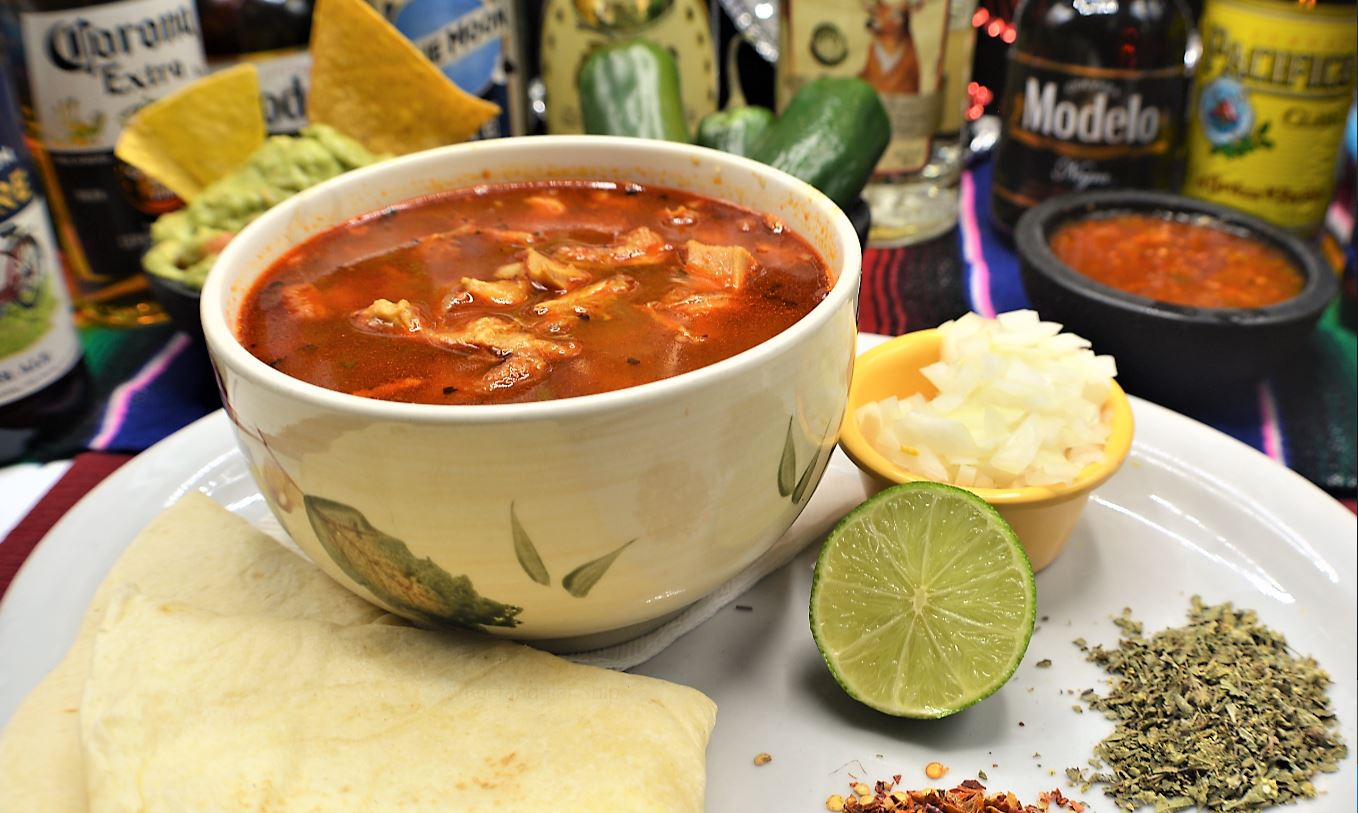 Bowl of green or red chile