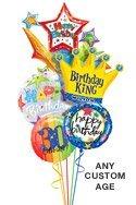 King Starburst Birthday Balloon Bouguet