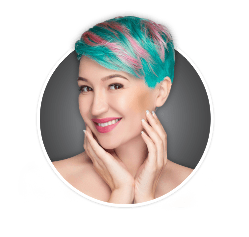 pink and turquoise hair color