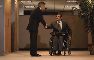 Injured man talking to a lawyer