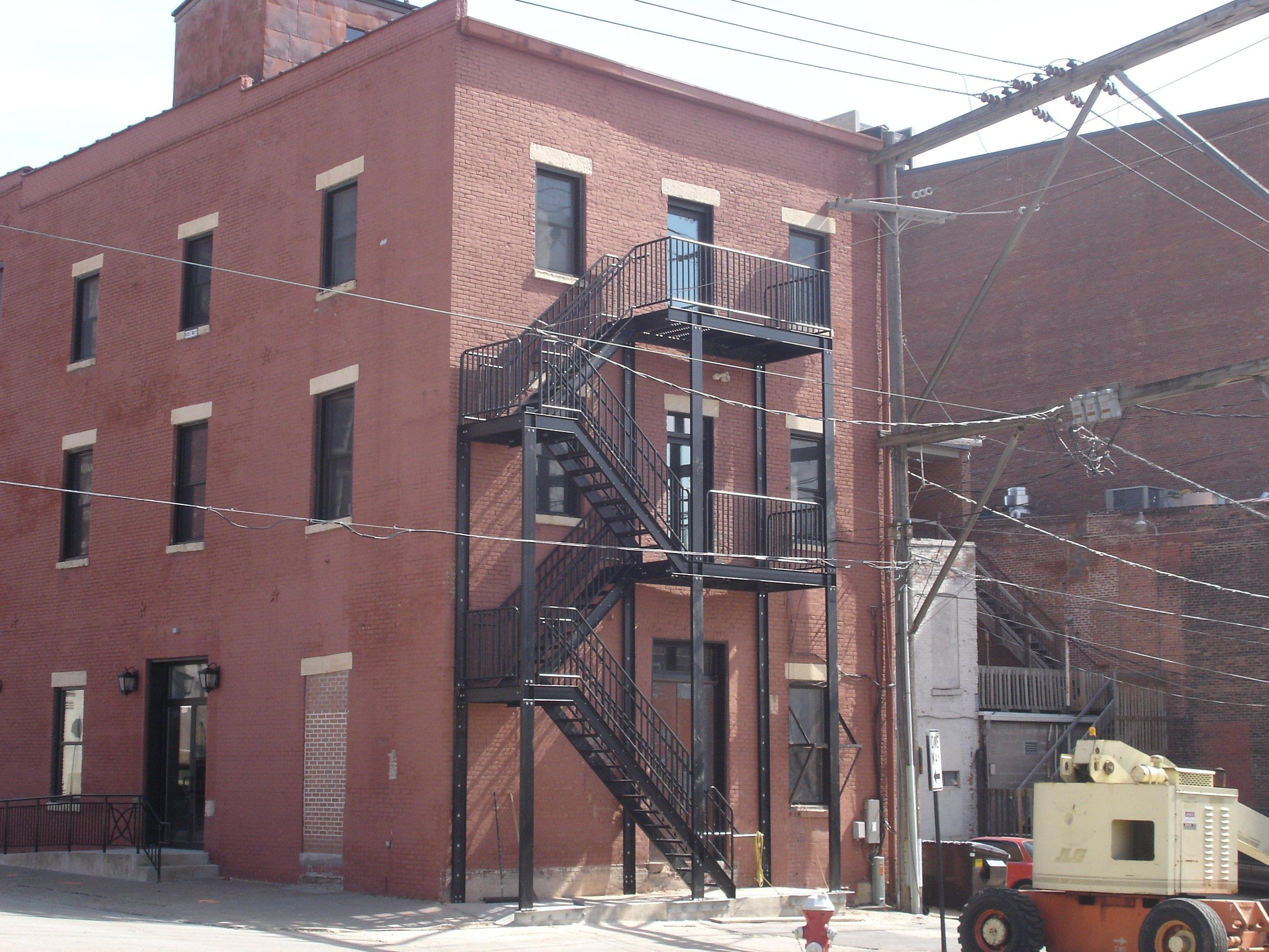 Powder coated fire escape