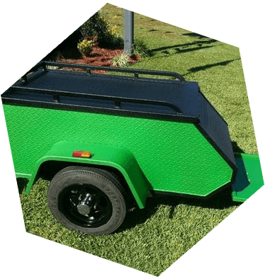Motorcycle Trailer in Line-X Premium and Line-X Color Match XTRA Green