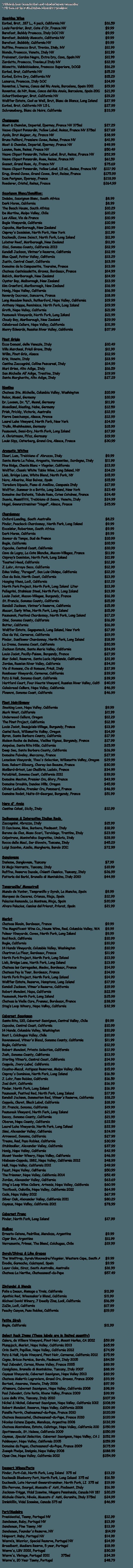 Liquor store   Manorville, NY   Towne Cellars Wines & Liquors   631-874-0451