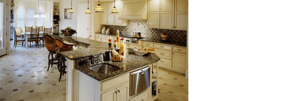 Clean kitchen with ceramic tabletop
