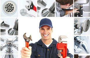 man with plumbing tools, man holding tools for plumbing