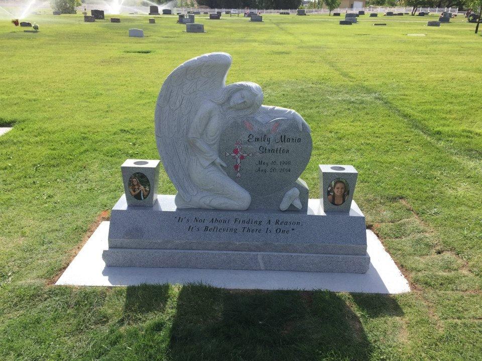 walker monument angel heart sculpture headstone