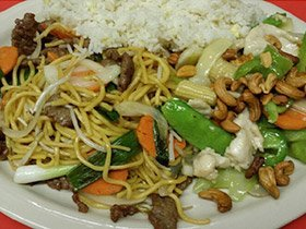 Beef lo mien/cashew chicken/ egg fried rice