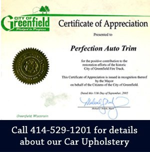 Certification of Appreciation - Milwaukee, WI - Perfection Auto Trim, Inc. - Call 414-529-1201 for details about our Car Upholstery