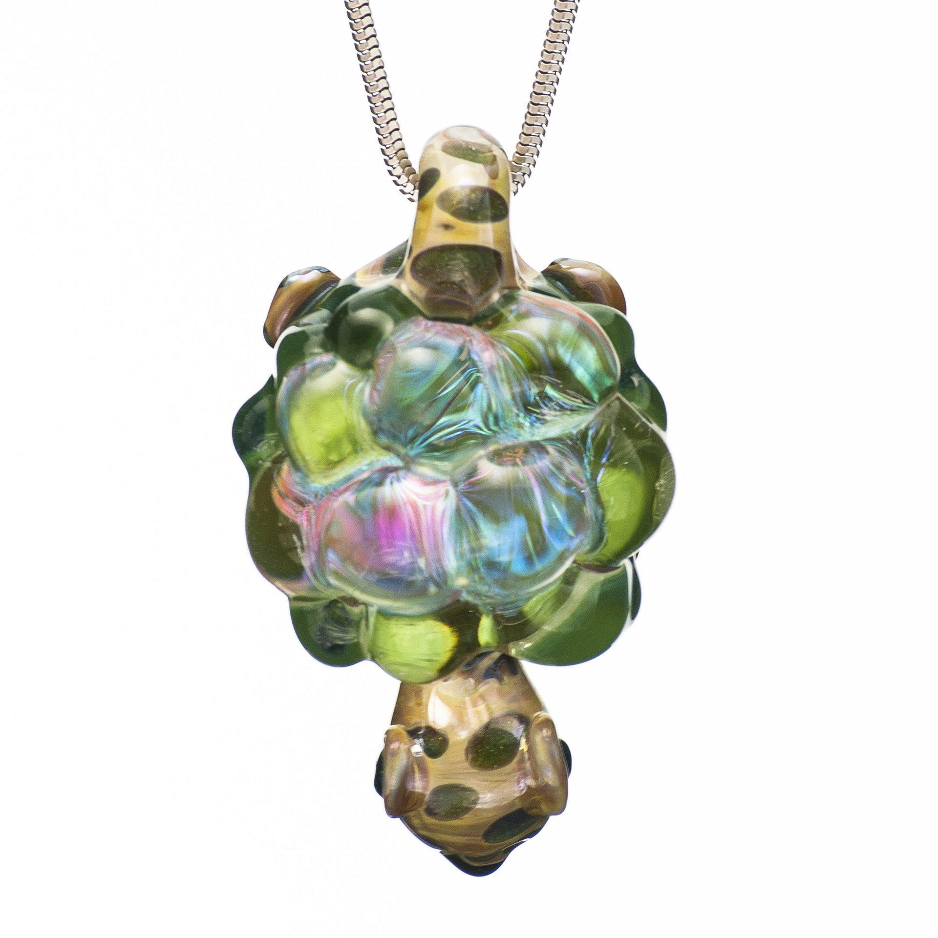 Hand blown glass pendants tree huggers co op la crosse wi hand blown dichroic glass turtle pendant mozeypictures Images