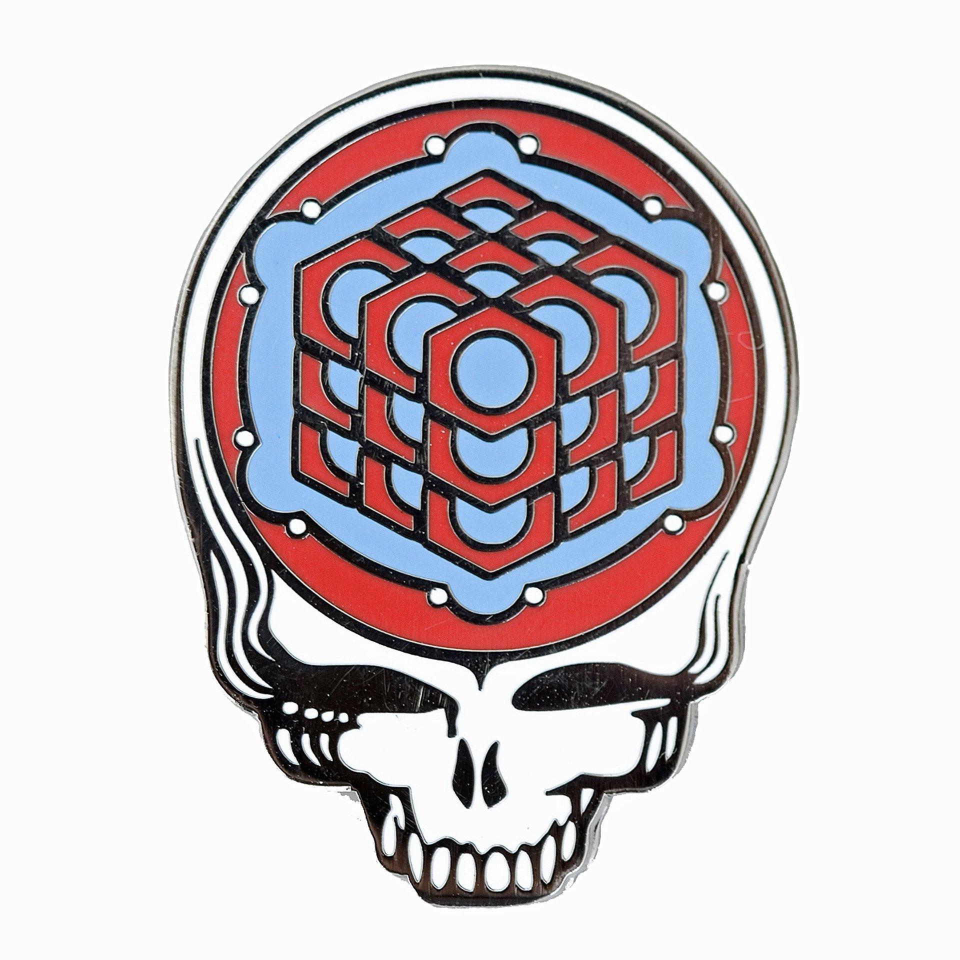 Grateful Dead - Metatron's Cube Crop Circle Red-Sky Blue Pin