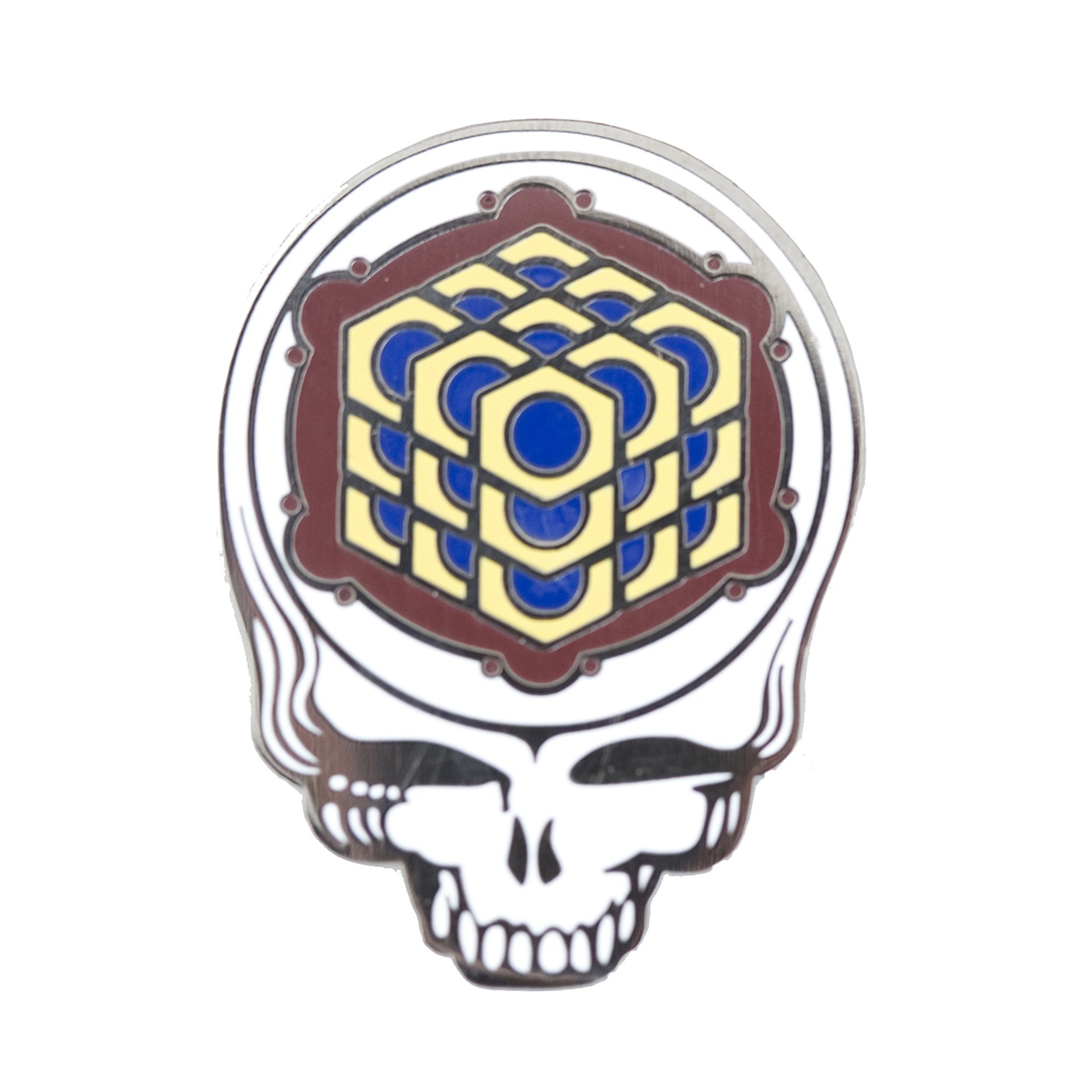 Grateful Dead - Metatron's Cube Crop Circle Maroon Pin