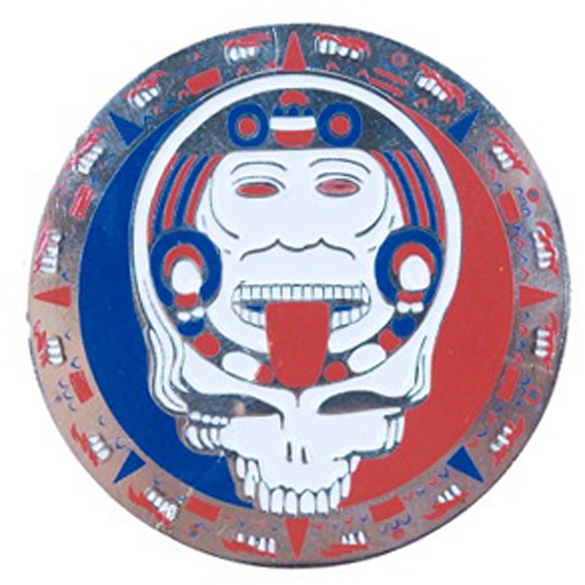 Grateful Dead Steal Your Face Mayan Calendar Face Silver Pin