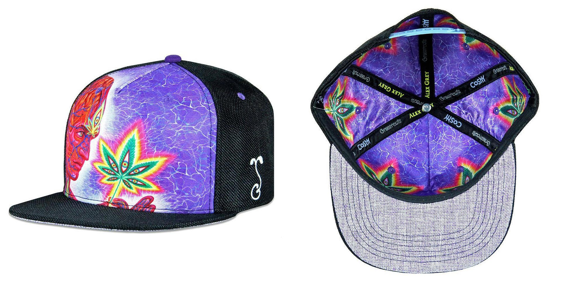 Alex Grey Cannabis Sutra Black Snapback Grassroots California Hat