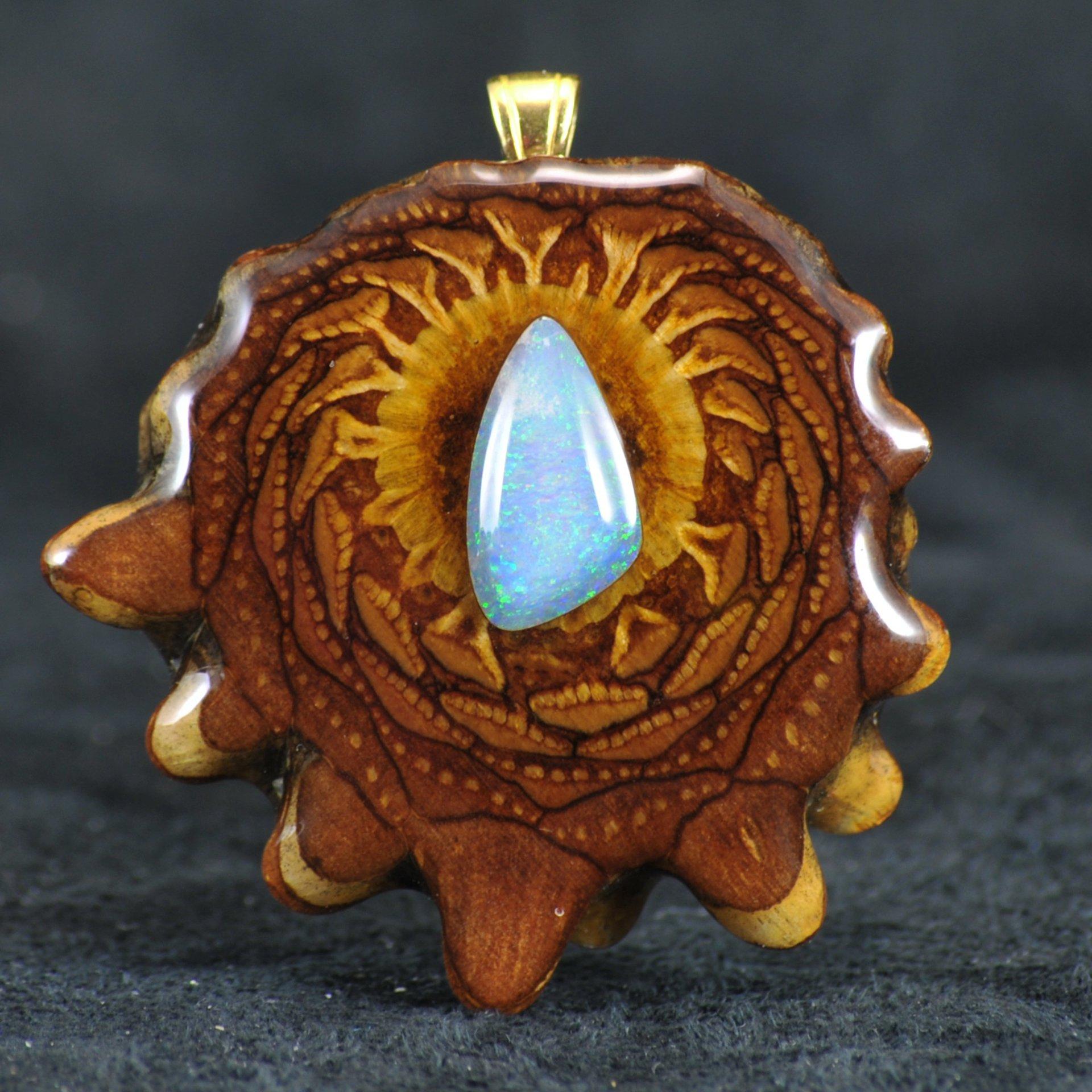 Third Eye Pinecone Australian Blue Opal Pendant #2
