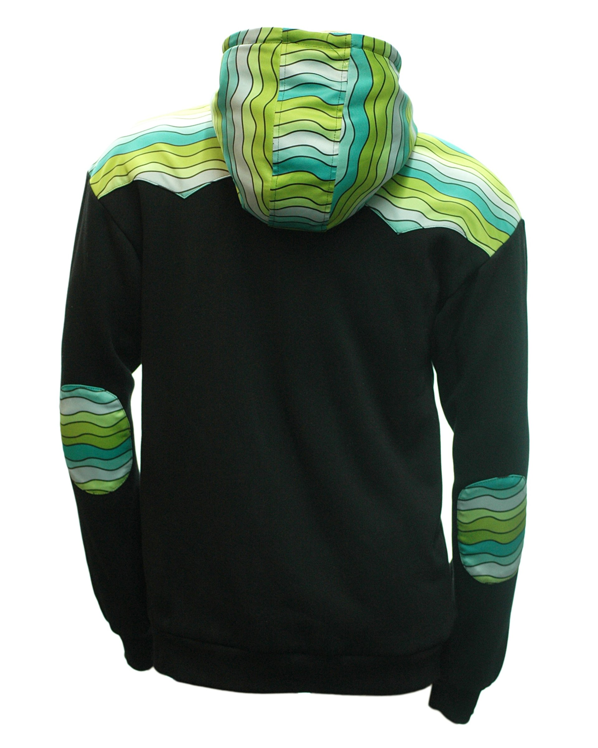 Reversible Jerry Garcia Removable Fish Waves Zip-up Hoodie (Outside-Back)