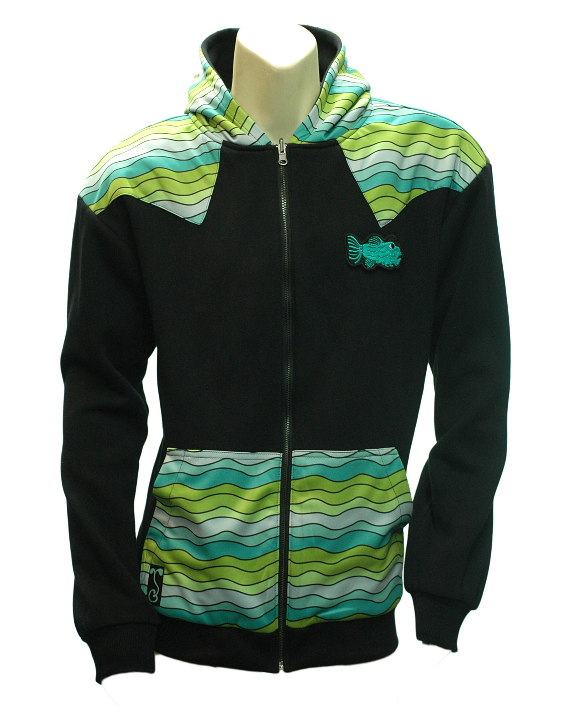 Reversible Jerry Garcia Removable Fish Waves Zip-up Hoodie (Outside-Front)