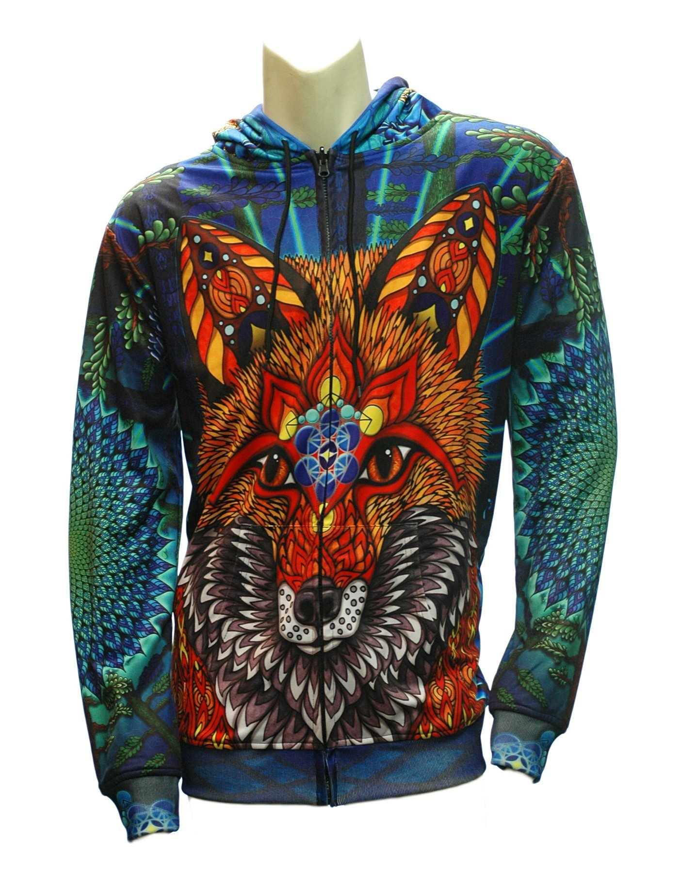 Reversible Electric Fox Zip-up Hoodie  (Outside-Front)