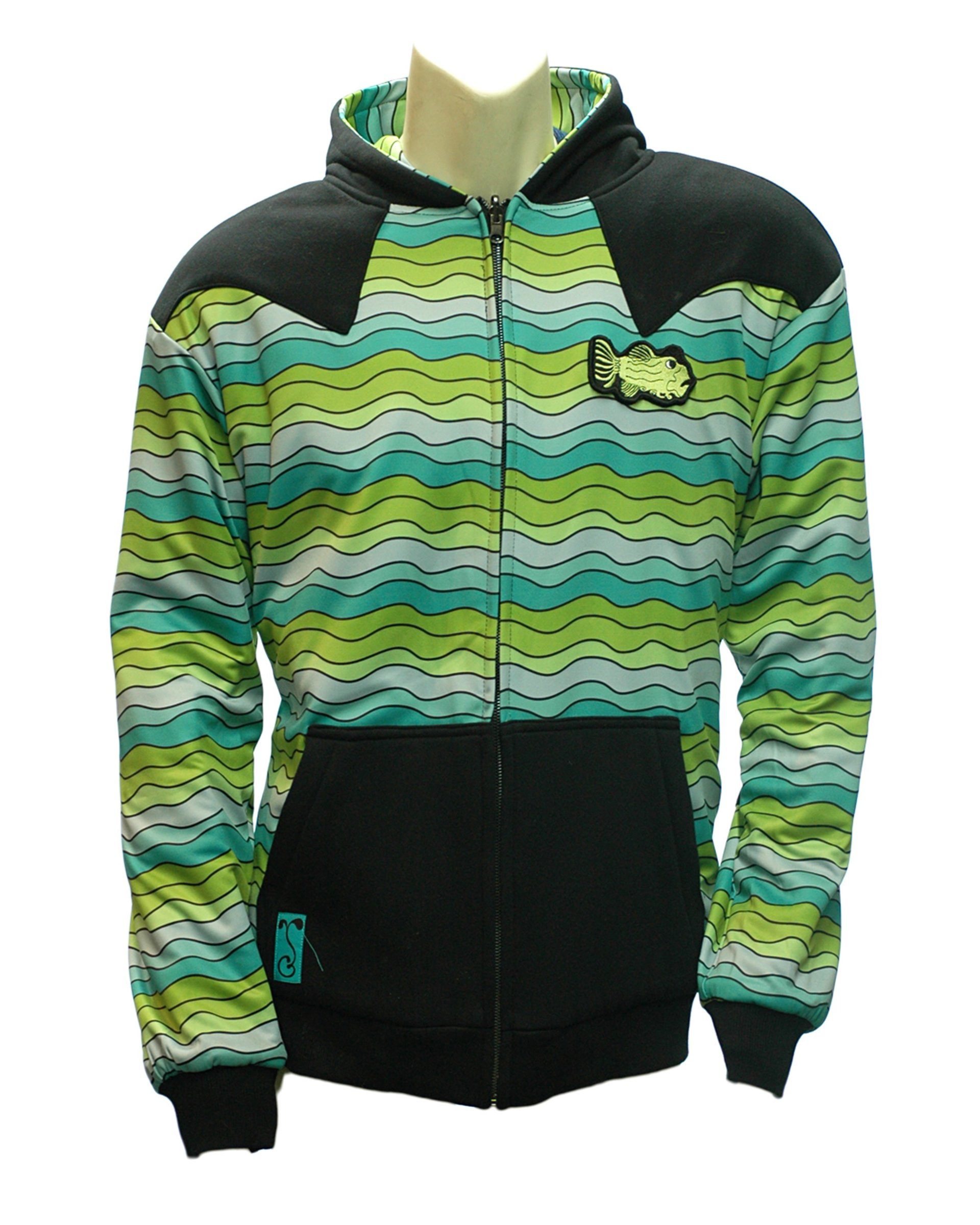 Reversible Jerry Garcia Removable Fish Waves Zip-up Hoodie (Inside-Front)