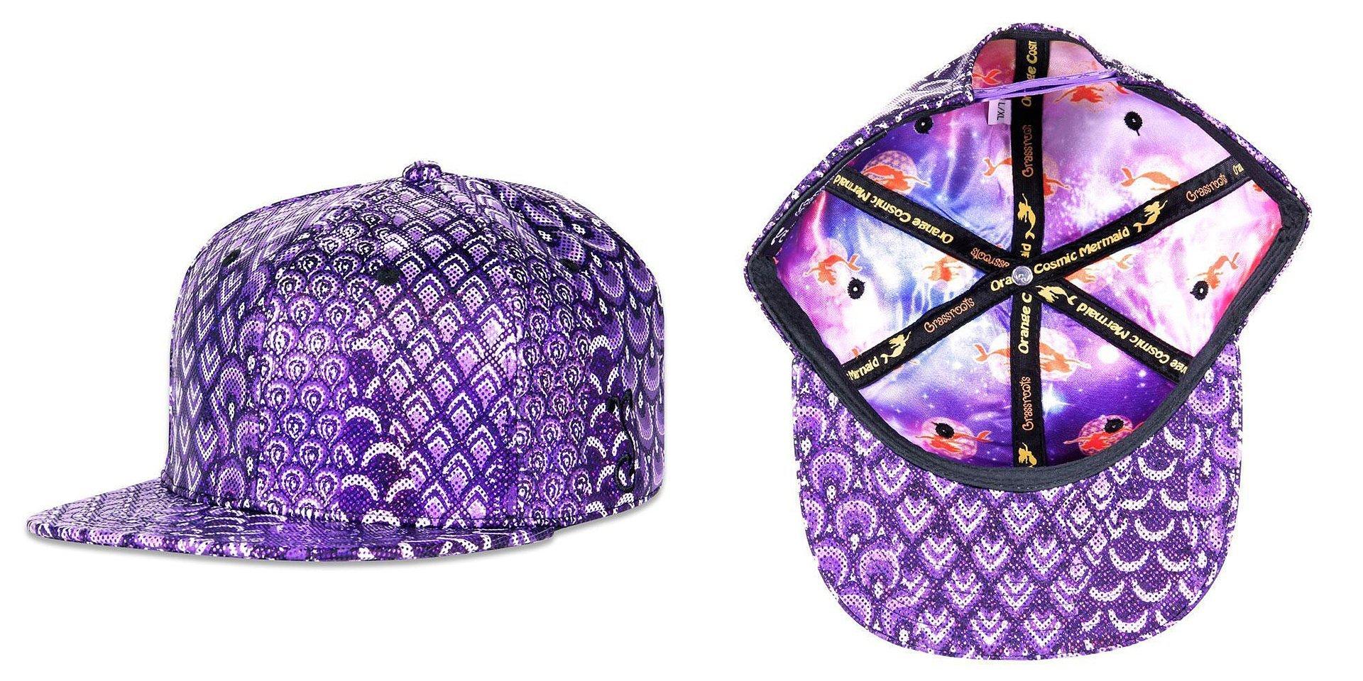Orange Cosmic Mermaid Purple Scales Snapback Grassroots California Hat