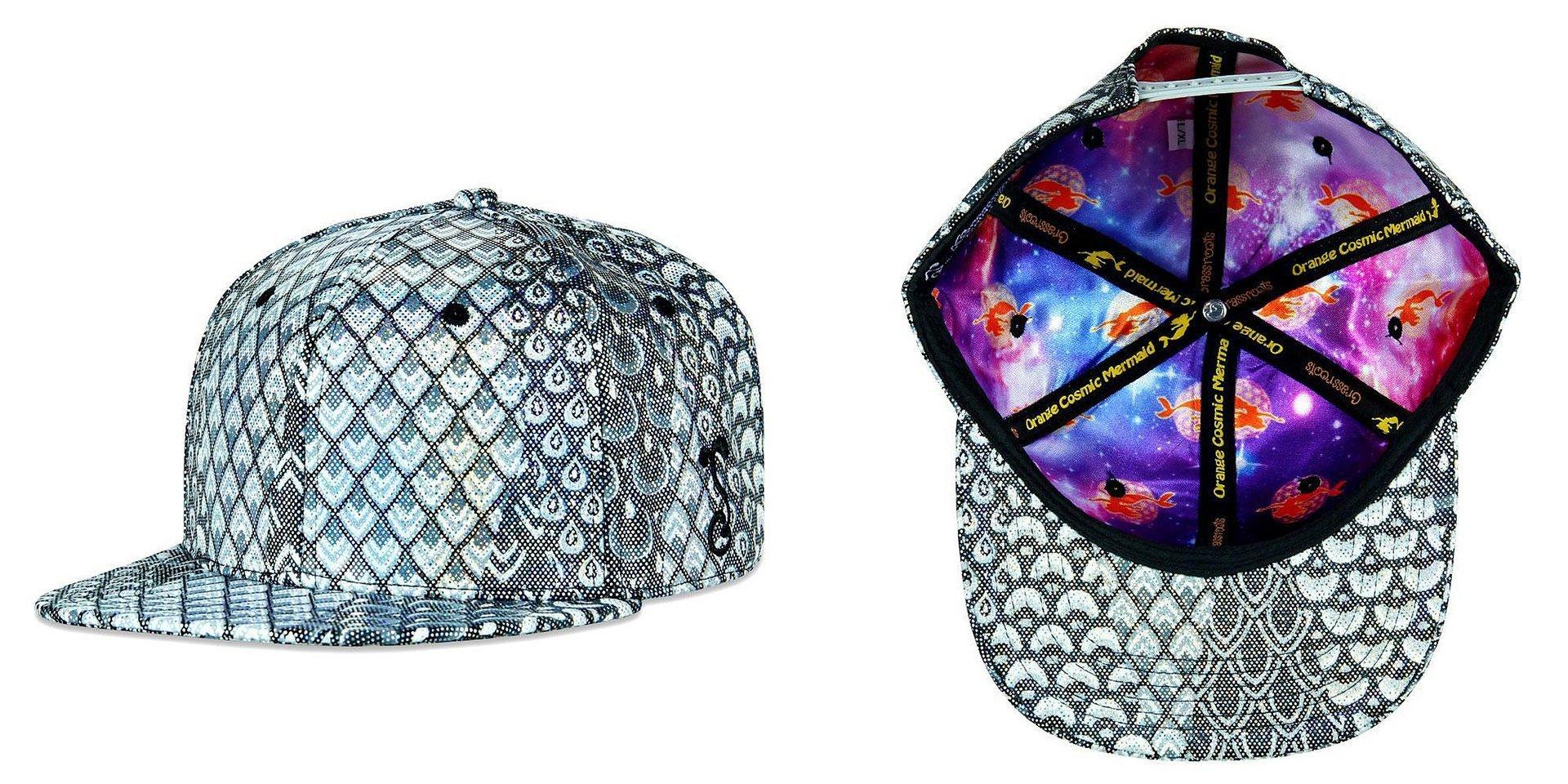 Orange Cosmic Mermaid Silver Scales Snapback Grassroots California Hat