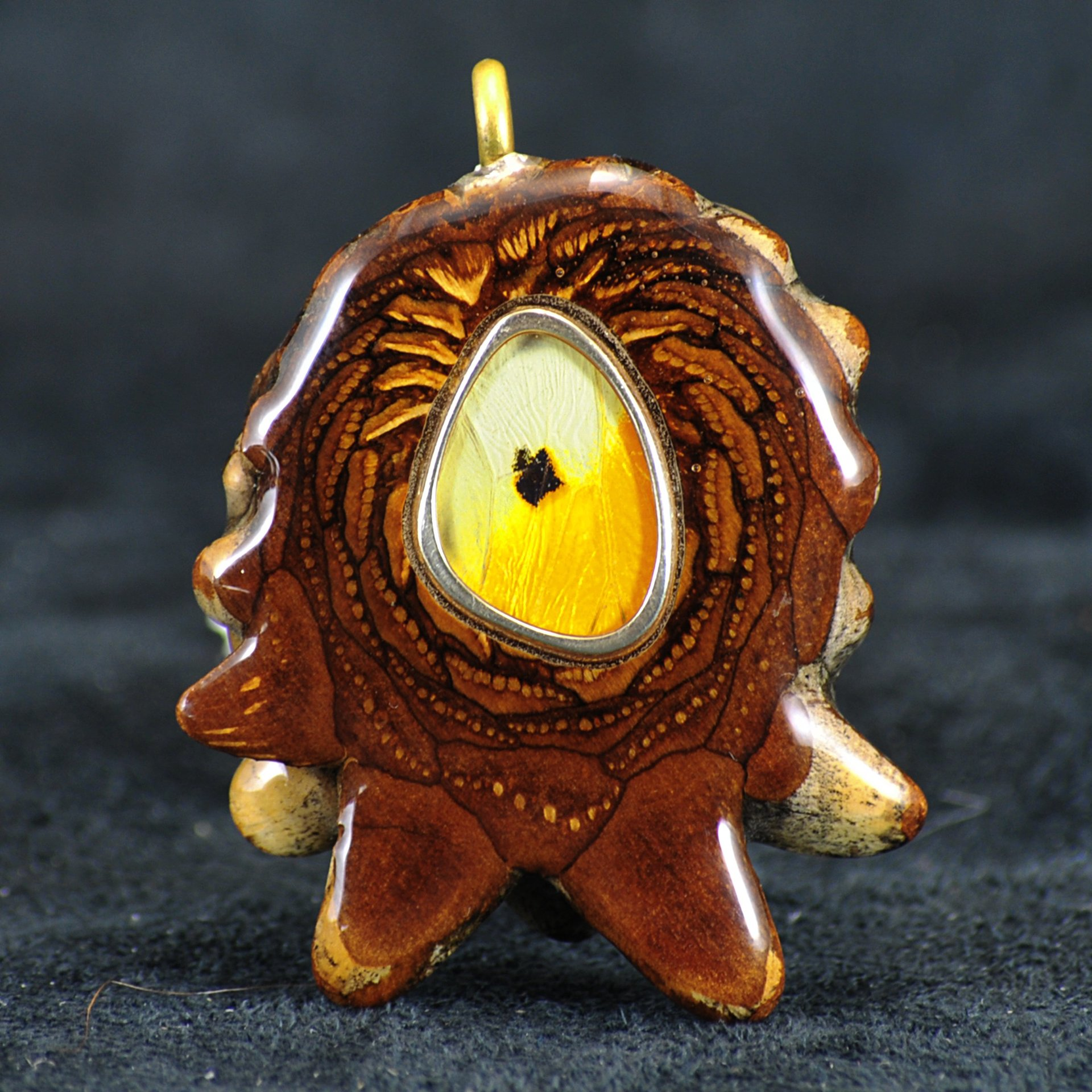 Third Eye Pinecone Orange Tip Butterfly Wing Pendant (Front)