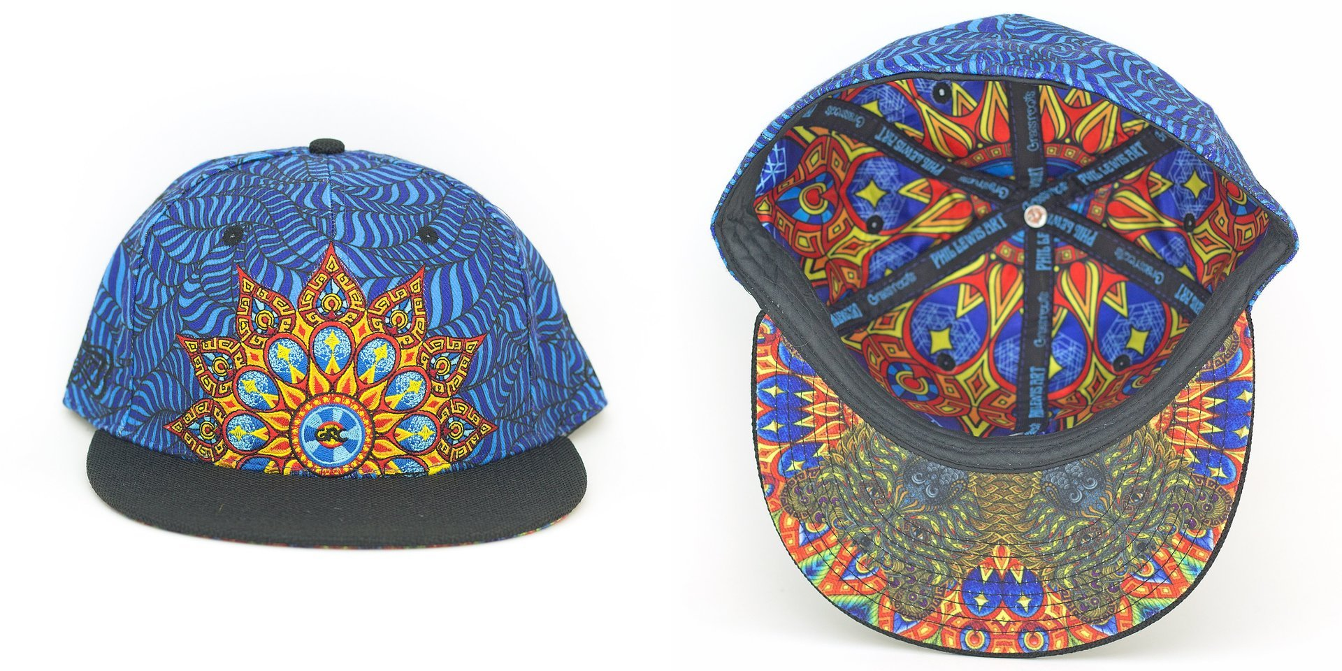 Phil Lewis Mandala Blue Fitted Grassroots California Hat