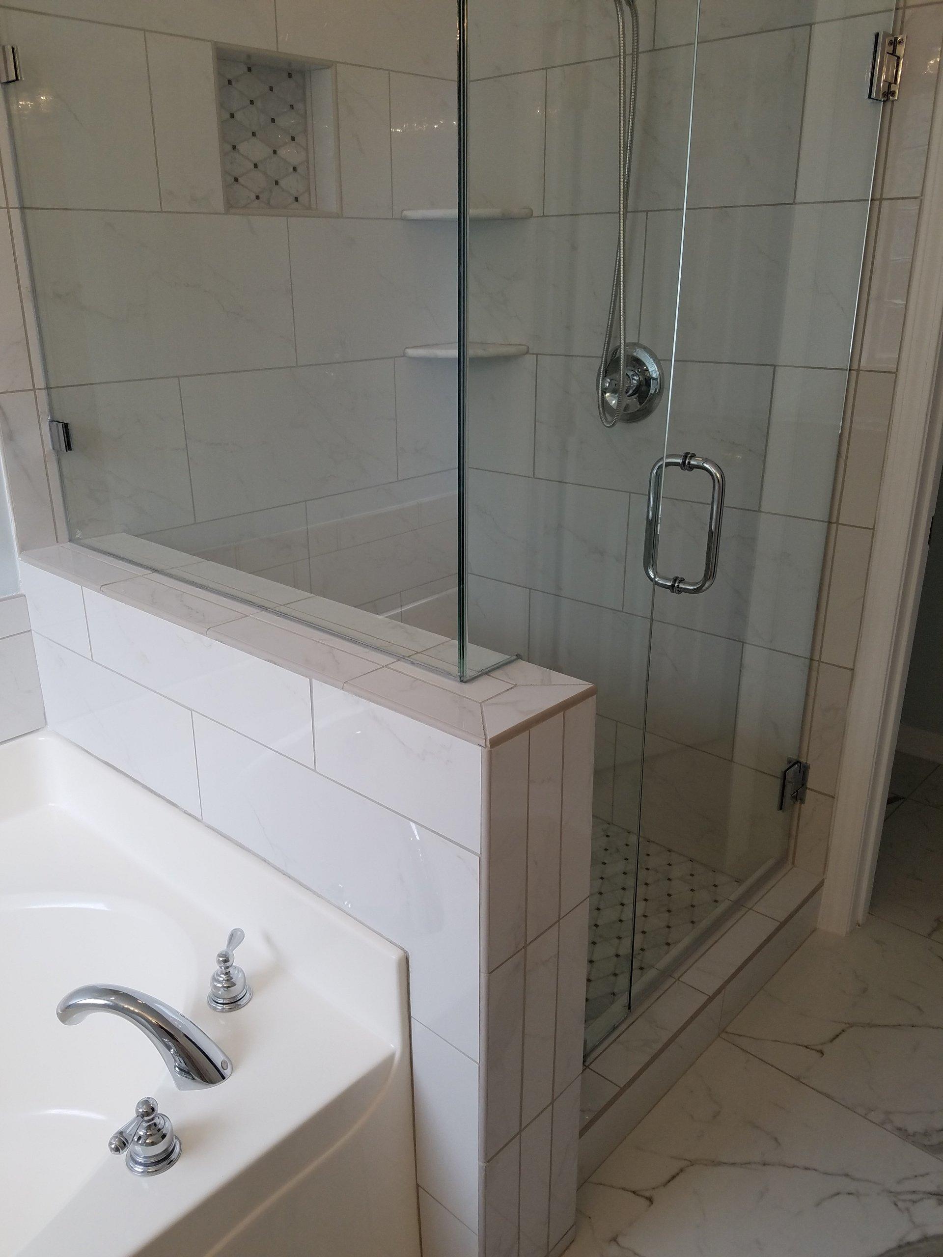 Fiberglass Unit To Walk In Tiled Shower