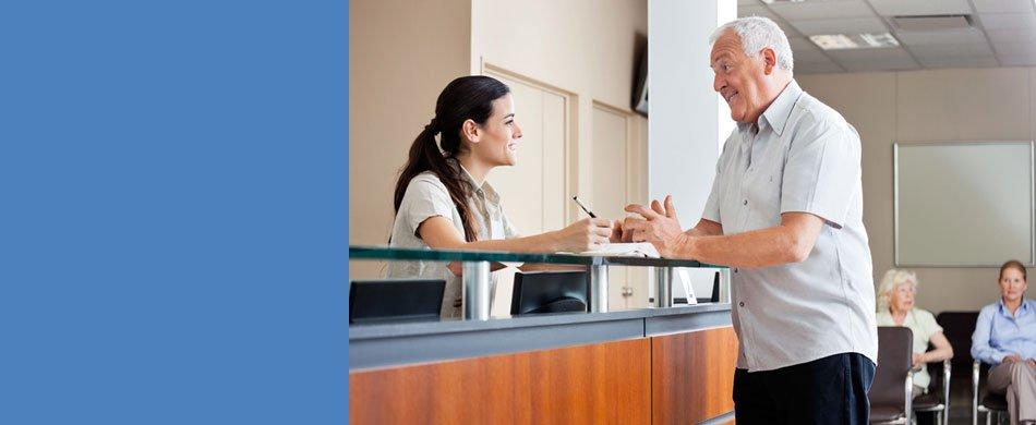 Patient talking to staff