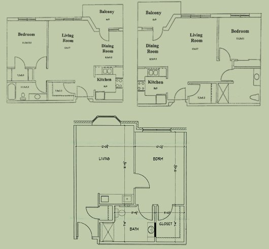 Floorplan for our single bedroom apartments in our original wings