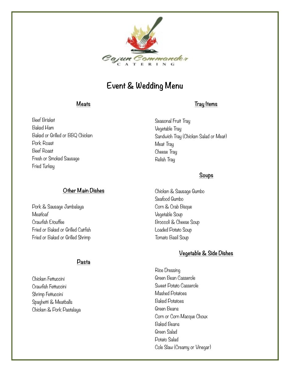 cajun commander catering menu