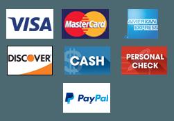 Visa | Mastercard | American Express | Discover | Cash | Personal Check | Paypal - Logos