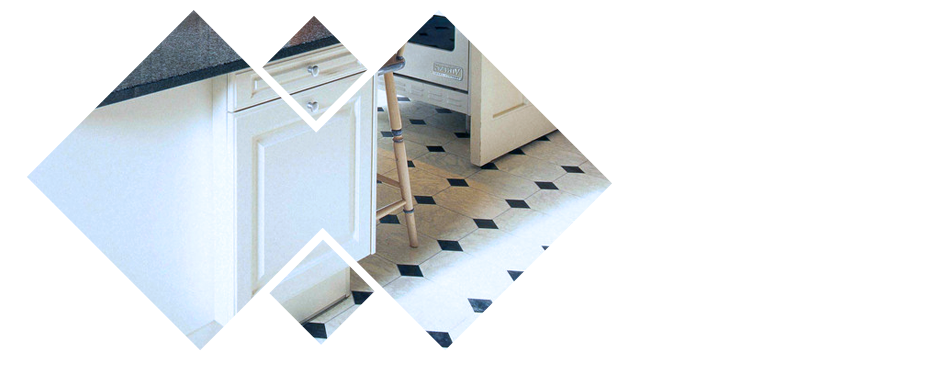 Creative design of tiles on the kitchen's floor
