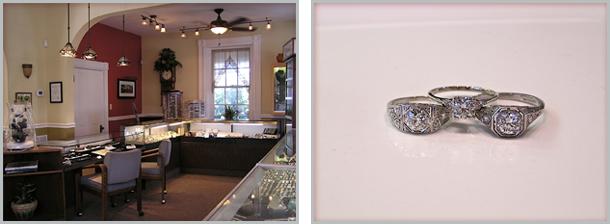 Inside the store, 3 white diamong rings