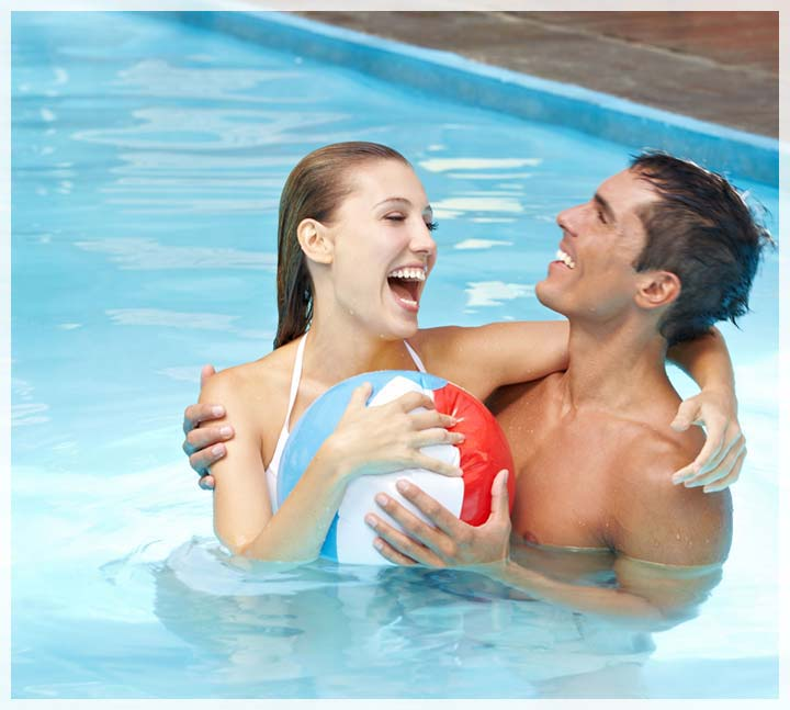 Couple enjoying in the pool
