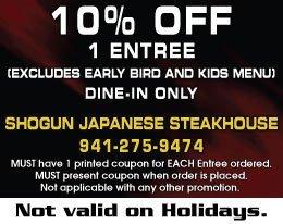 Early Bird Specials - Venice, FL - Shogun Japanese Steakhouse