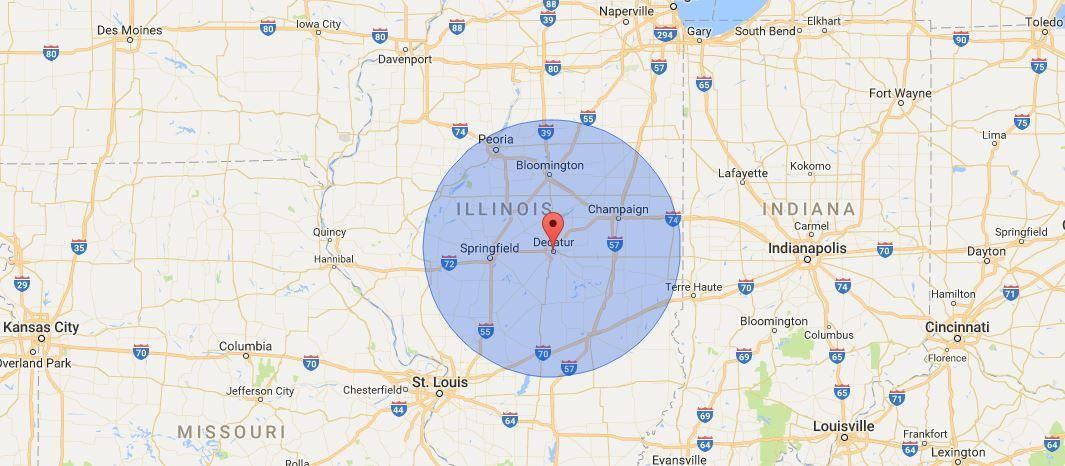 Christy-Foltz Inc. Service Area Map