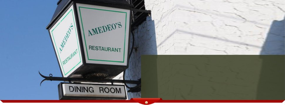 Amedeo's Restaurant & Pizza post sign