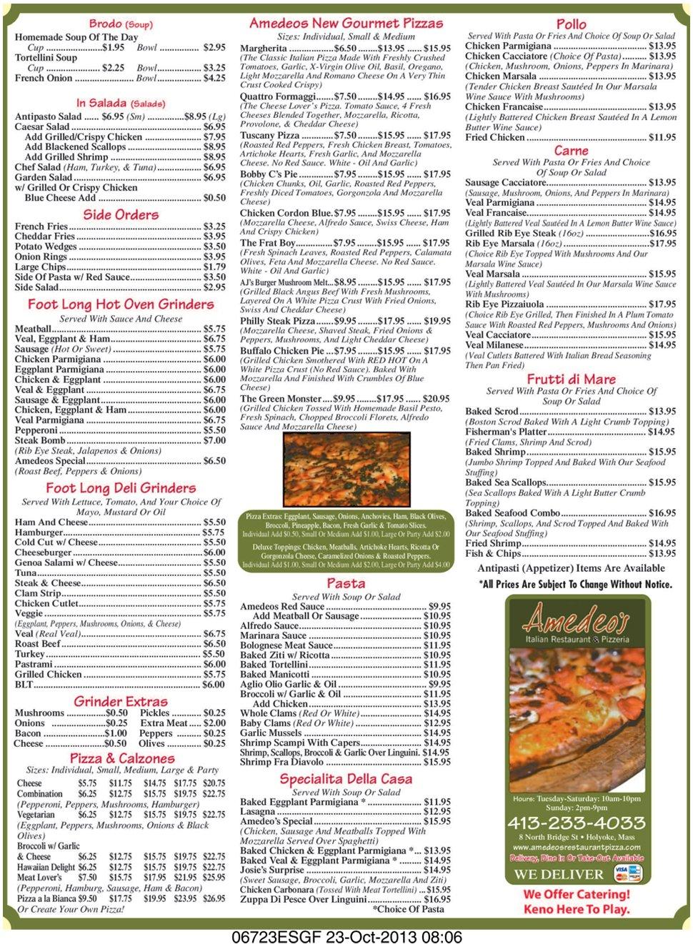 Amedeo's Restaurant & Pizza - Menu