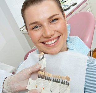 Woman have teeth color matching