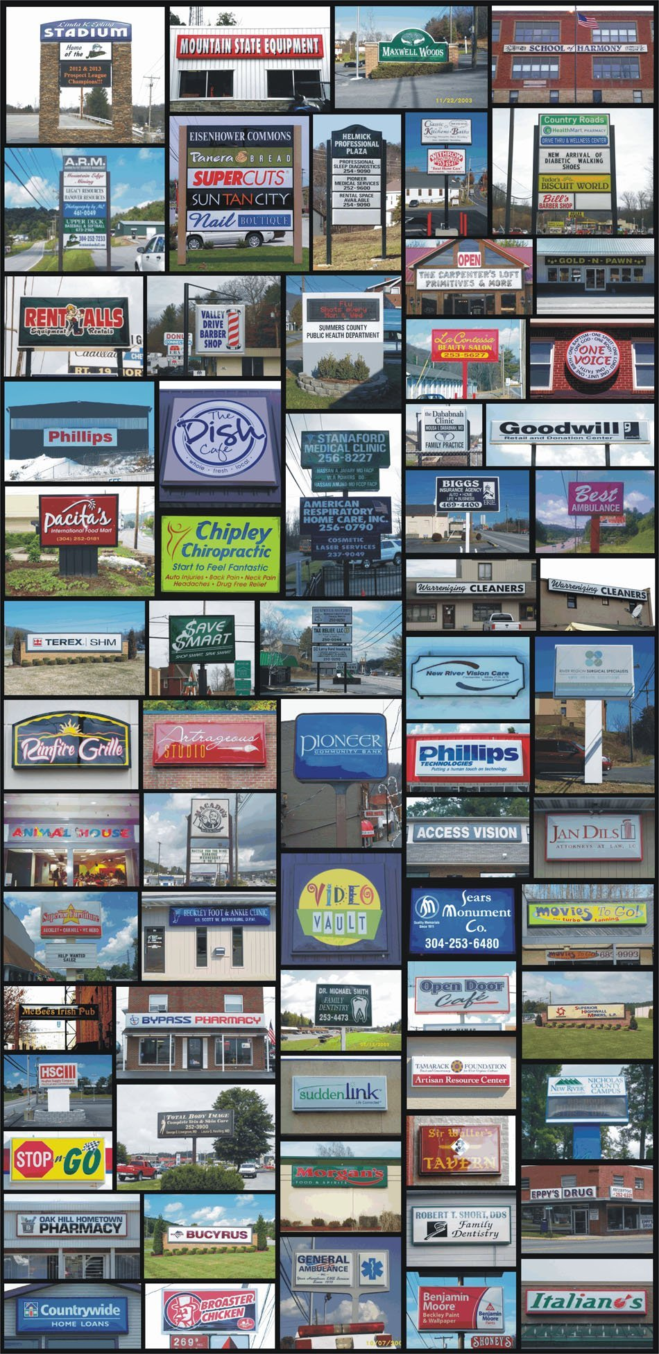 Collage of Lighted Signs