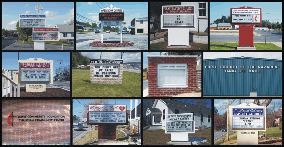 Collage of church signs