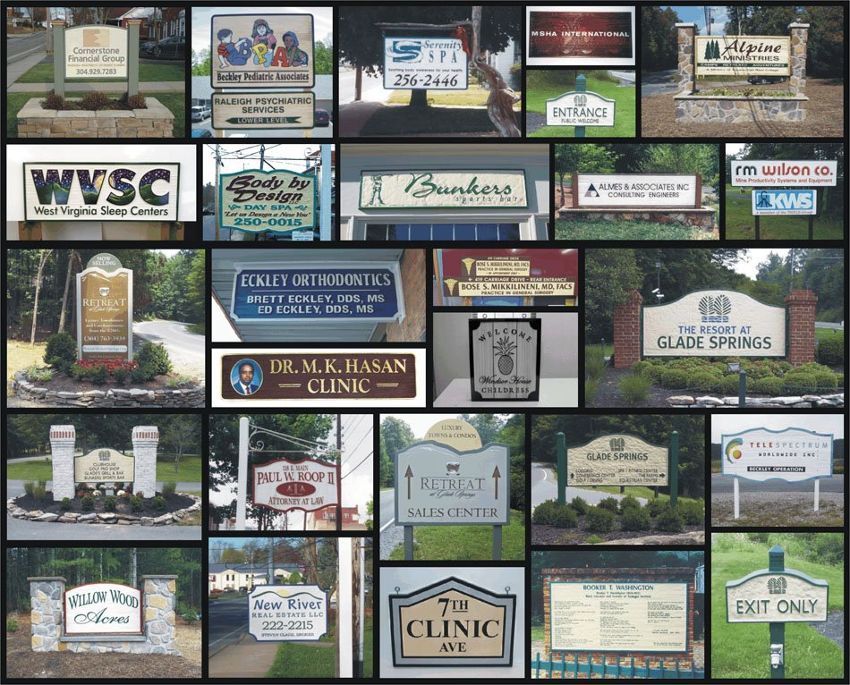 Collage of sandblasted signs