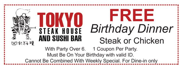 Coupons | McDonough, GA | Tokyo Steak House And Sushi Bar | 770-957-2100