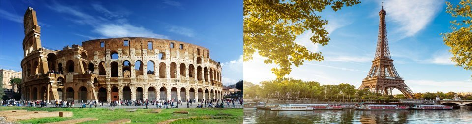 International Travels | Rome Colosseum | Eifffel Tower France