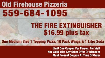 Pizza Coupons - Tulare, CA - Old Firehouse Pizzeria - The Fire Extinguisher Coupon