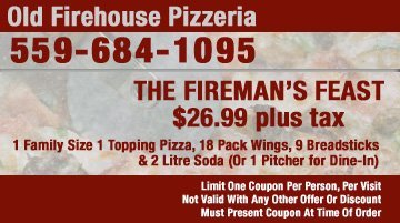 Pizza Coupons - Tulare, CA - Old Firehouse Pizzeria - Fireman's Feast Coupon